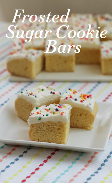 When you are craving sugar cookies but can't be bothered with rolling out dough and using cookie cutters, make frosted sugar cookie bars instead! They are super simple and are as pretty as they are tasty.