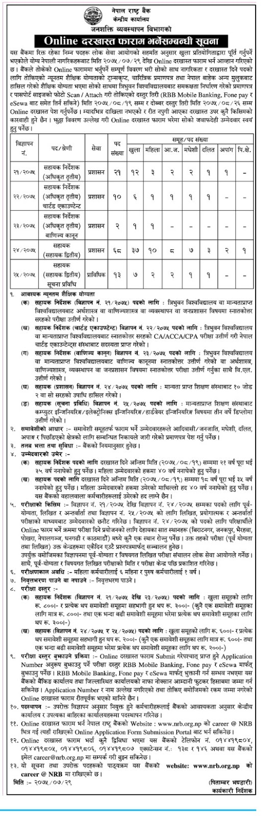 Nepal Rastra Bank Announced Online Applications for Various Posts