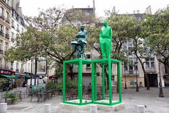 Paris : Renzo Piano et Richard Rogers, double-portrait hommage de Xavier Veilhan, les architectes du Centre Pompidou face à leur oeuvre - IVème