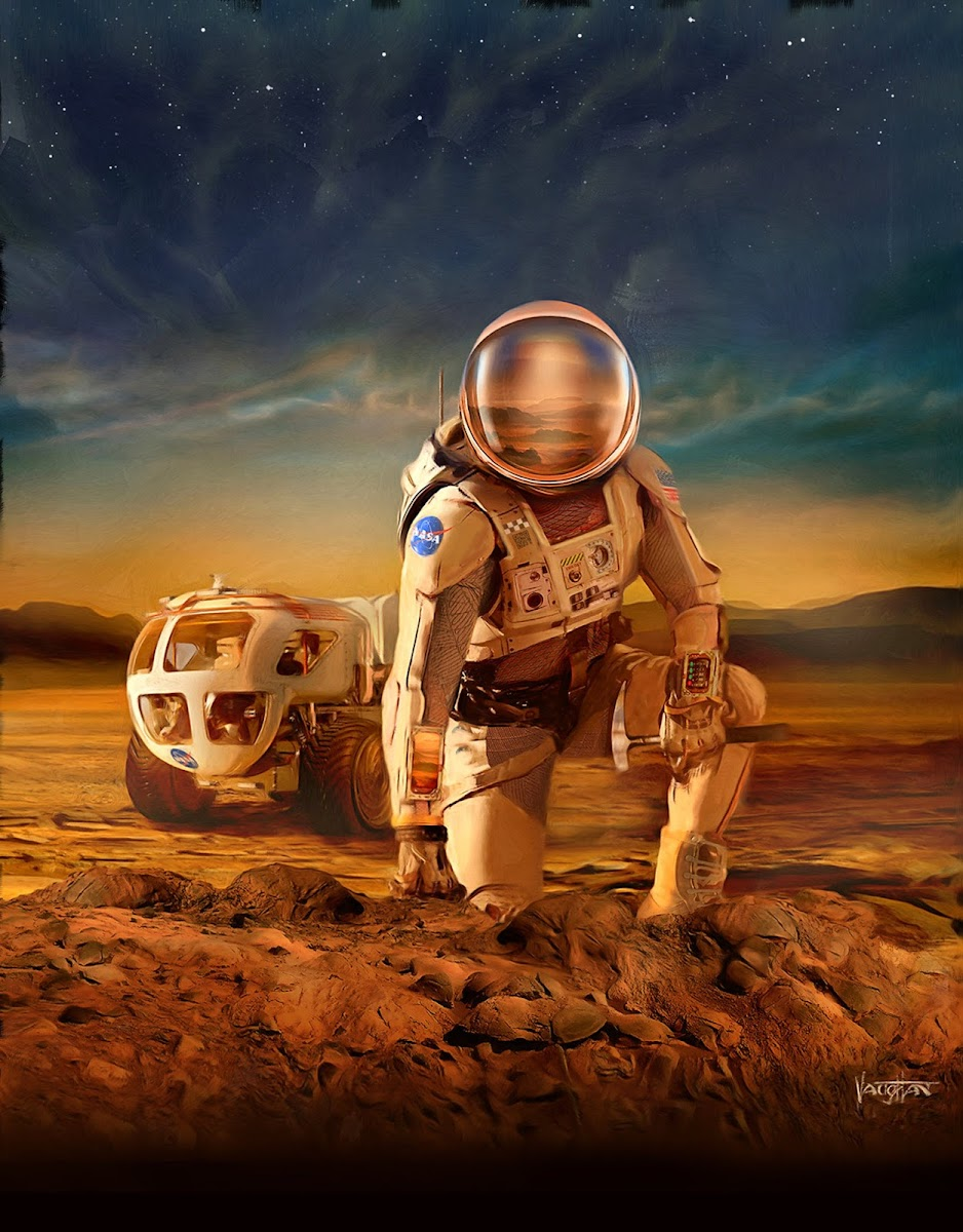 NASA astronaut in front of rover on Mars by James Vaughan