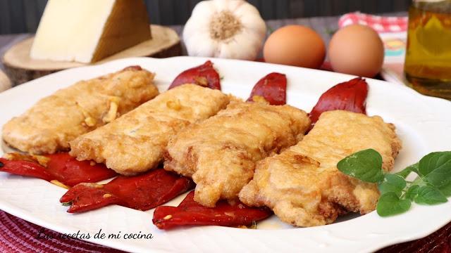 Libritos de lomo rellenos jamón y queso con pimientos de piquillo