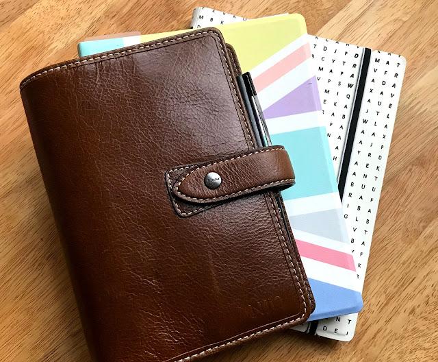 Filofax Malden in Ochre and two Filofax refillable notebooks