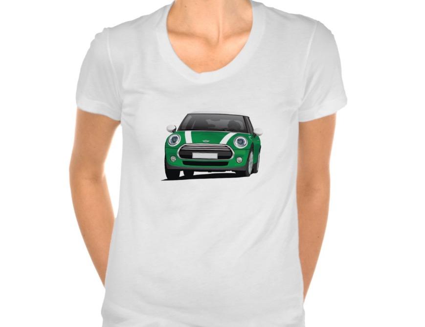 mini cooper tshirt car illustrations printed on t