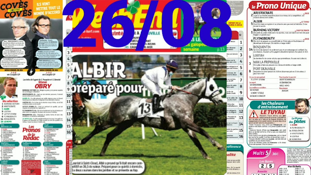Pronostic quinté+ pmu jeudi Paris-Turf TV-100 % 26/08/2021