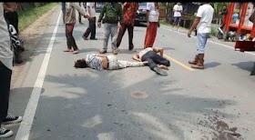 Lakalantas di Jaluko Desa Kedemangan, Dua Orang Terkapar jalan