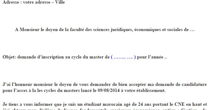 Un Exemple De Demande Manuscrite Adressee A Monsieur Le Doyen De La