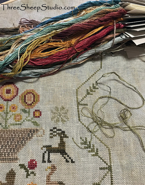 'His eye is on the Sparrow' counted cross stitch - stitched by Rose Clay of Three Sheep Studio