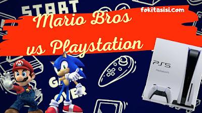 Fondo de negro y blanco con iconos de controles de videojuegos y Marios Bros con Sony playstation delante de la PS5