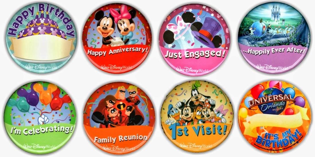 Bottons ou Botões comemorativos na Disney em Orlando