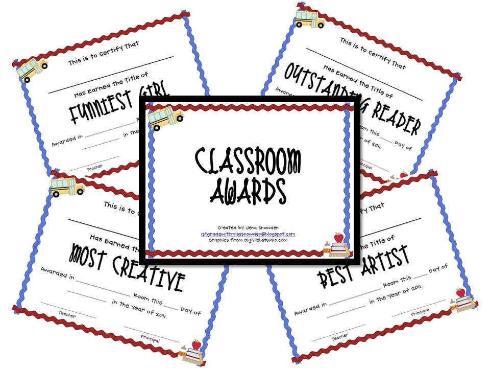 1st grade with miss snowden end of year classroom awards for Classroom certificate template