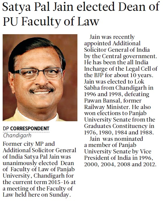 Satya Pal Jain elected Dean of PU Faculty of Law