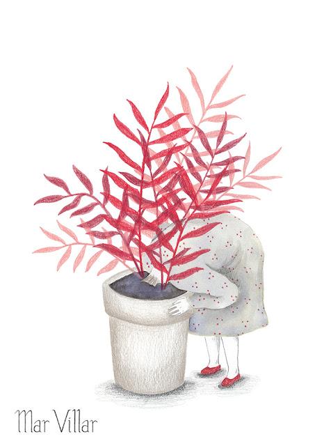 planta, esconder la cabeza, ilustración, tinta, esconderse, ocultarse, chamaedorea elegans, palmera de salón, palma tina, palma de salón