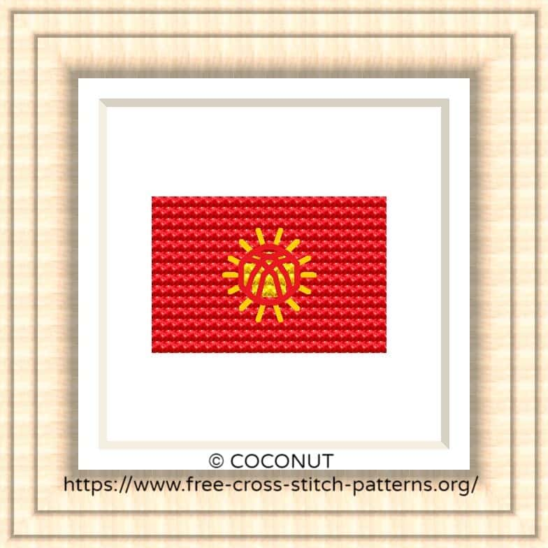 NATIONAL FLAG OF KYRGYZSTAN CROSS STITCH CHART