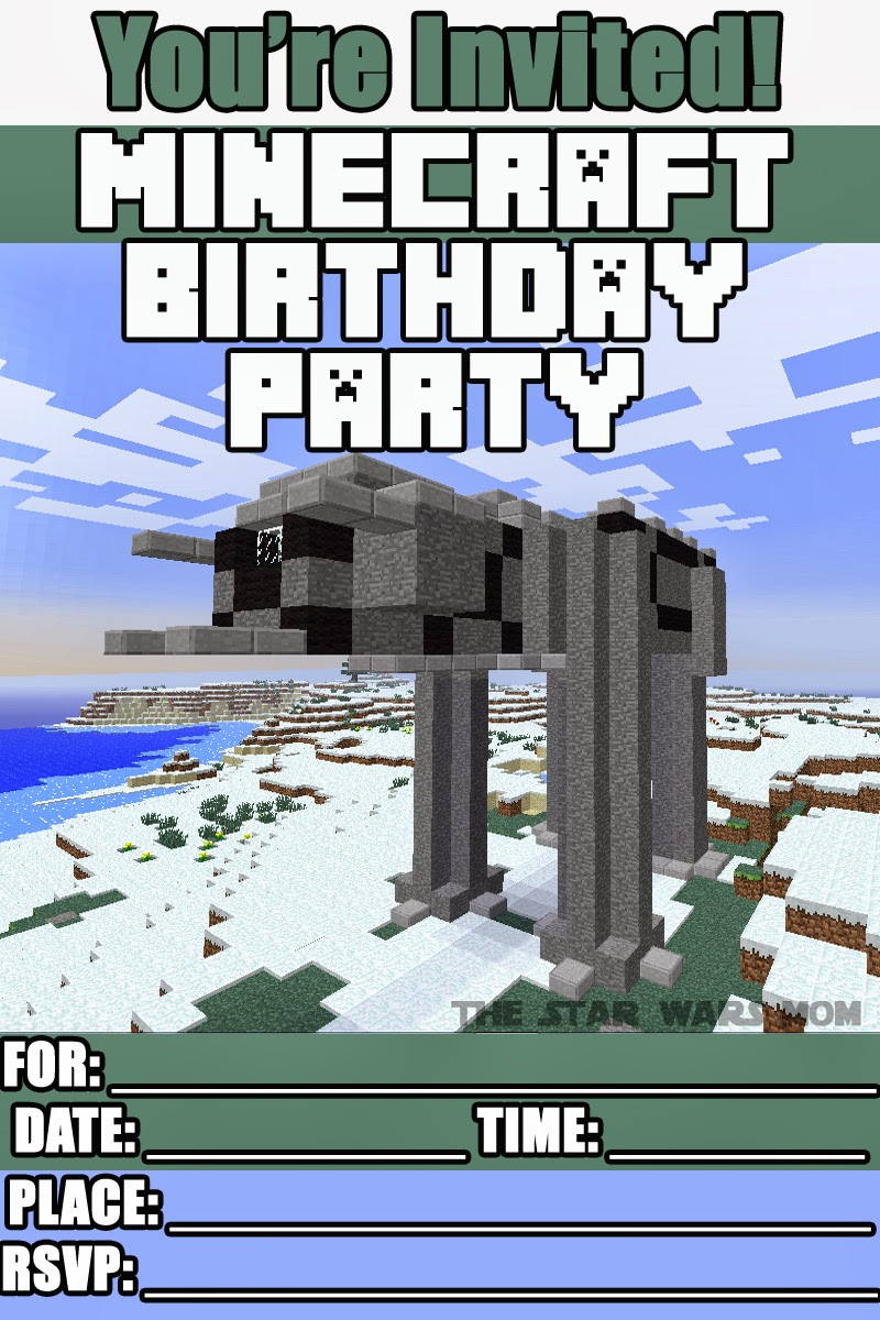 image regarding Printable Minecraft Birthday Invitations titled Star Wars - Minecraft Celebration Invites Cost-free Printables