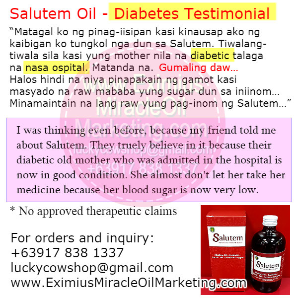 Diabetes using Salutem Oil
