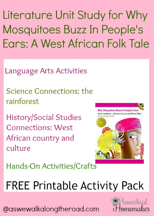Literature Unit Study Why Mosquitoes Buzz in People\u0027s Ears (FREE