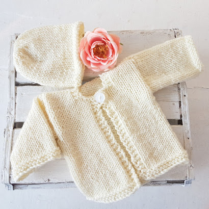 simple knitted baby jumper for newborn baby shower gift