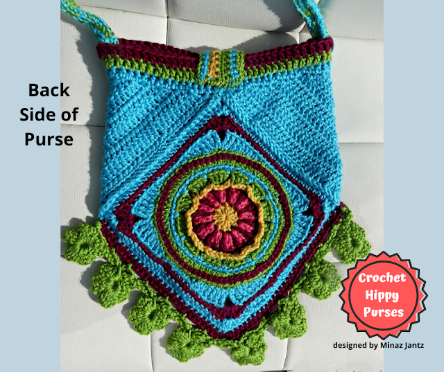 BACK VIEW Blue Crochet Hippy Purse designed by Minaz Jantz