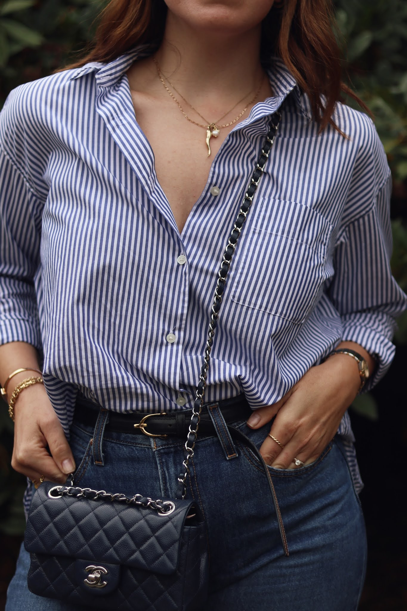 striped blouse levis dad jeans outfit chanel mini flap rectangle
