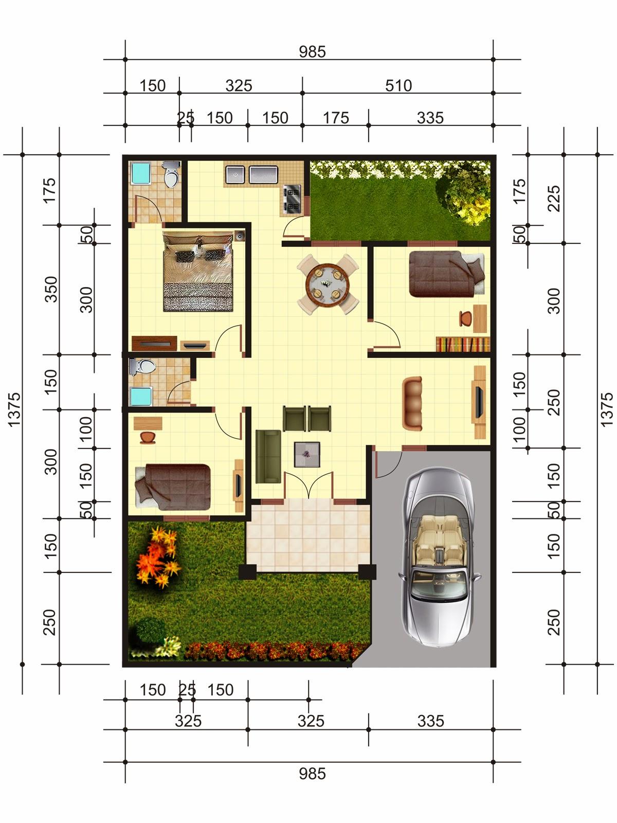 Denah Rumah Minimalis 7 X 20 2020