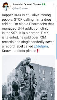 """""""Rapper DMX Is Still Alive, STOP Calling Him A Drug Addict"""" - Dr Kemi Says"""