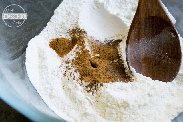 mix flour, sugar, baking powder, salt and cinnamon in a bowl