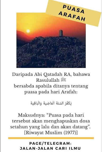 Hari Arafah, keistimewaan hari Arafah, kelebihan hari Arafah, hari mustajab doa, Puasa hari Arafah, hukum puasa hari arafah