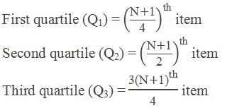 """First quartile (Q1) = ((""""N"""" +""""1"""" )/""""4"""" )^""""th""""  item Second quartile (Q2) = ((""""N"""" +""""1"""" )/""""2"""" )^""""th""""  item Third quartile (Q3) = (""""3"""" 〖""""(N"""" +""""1)"""" 〗^""""th"""" )/""""4""""  item"""