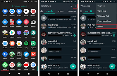 Buka Aplikasi WhatsApp lalu klik tanda titik tiga dipojok kanan atas lalu klik Setelan