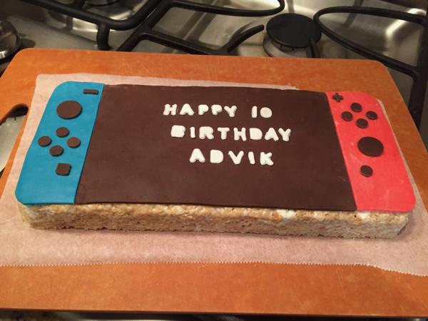 Fabulous Nintendo Switch Rice Krispie Treat Personalised Birthday Cards Veneteletsinfo