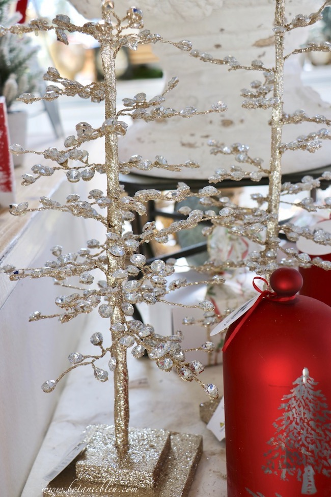 French Country Christmas Event 2019 has jewel glittered table top trees that coordinate with the jewel glittered stems around the Christmas tree