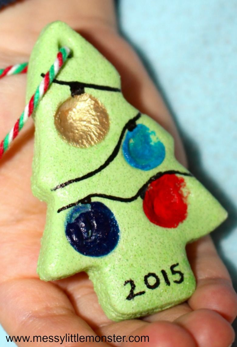 Christmas tree salt dough ornament craft for kids