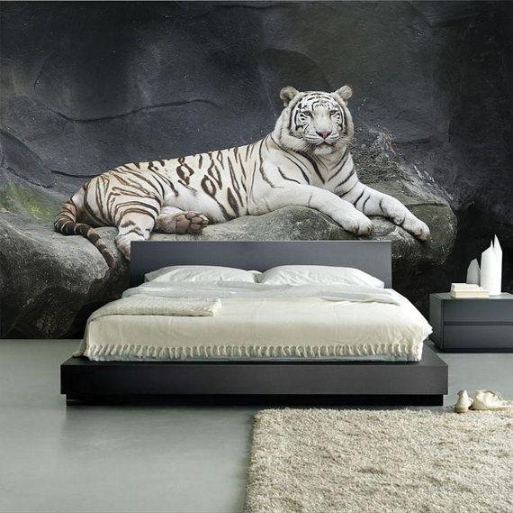 häftig sovrumstapet tiger vit