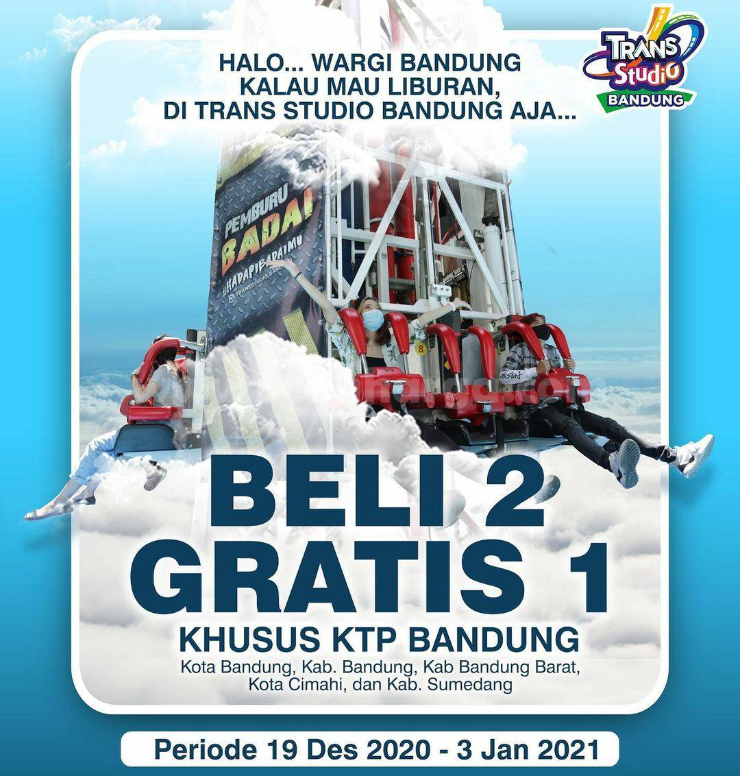 TRANS STUDIO BANDUNG Promo BELI 2 GRATIS 1 Khusus KTP Bandung