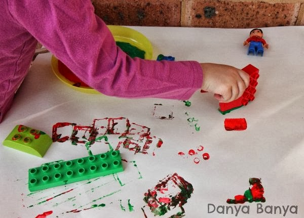 Stamping with Lego and paint