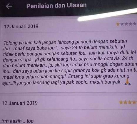 """Viral Penumpang Beri Bintang Satu ke Sopir Ojol Karena tak Terima Dipanggil """"Ibu"""""""