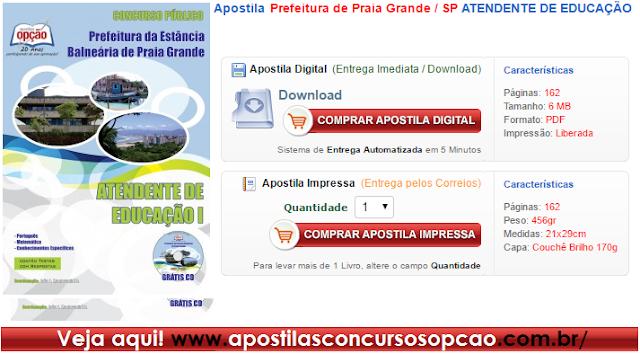 Apostila concurso Prefeitura Praia Grande SP, matérias e conteúdo para todos os cargos