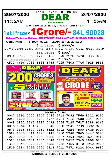 Sikkim State Lotteries 26-07-2020 Lottery Sambad Result 11:55 AM