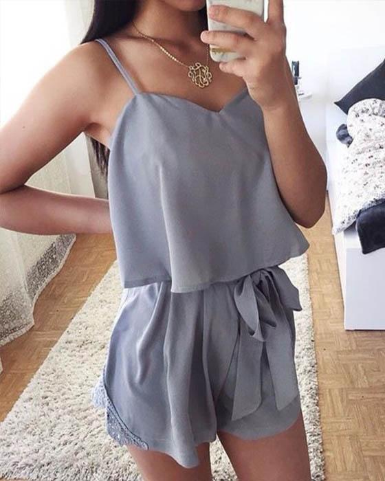 outfits con baggy shorts elegante