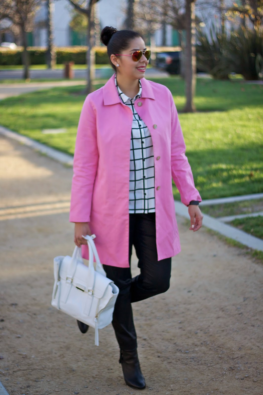 Pink trench coat with windowpane top, pink trench with grid top