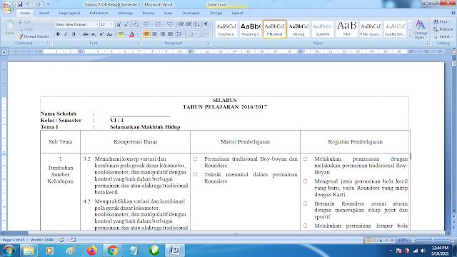 Contoh Format Silabus PJOK K13 Kelas 6 SD Semester 1 Revisi Terbaru