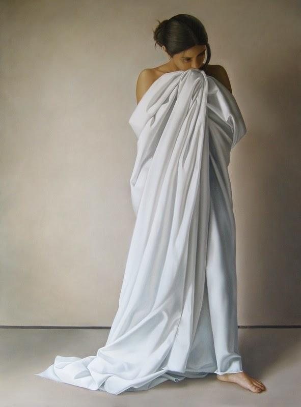 Mulher em Pé - Omar Ortiz | Pintura Sensual Hiper-Realista  - Mexicano