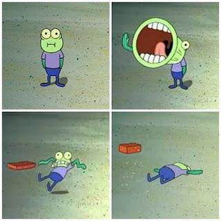 Polosan meme spongebob dan patrick 138 - hubla, hoopla!, ikan dilempar batu bata
