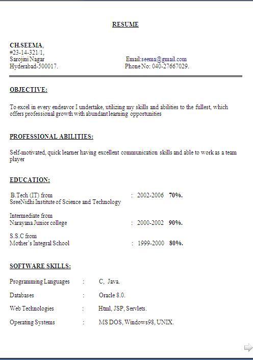 Curriculum vitae simple sample format download - Cv sample for sales