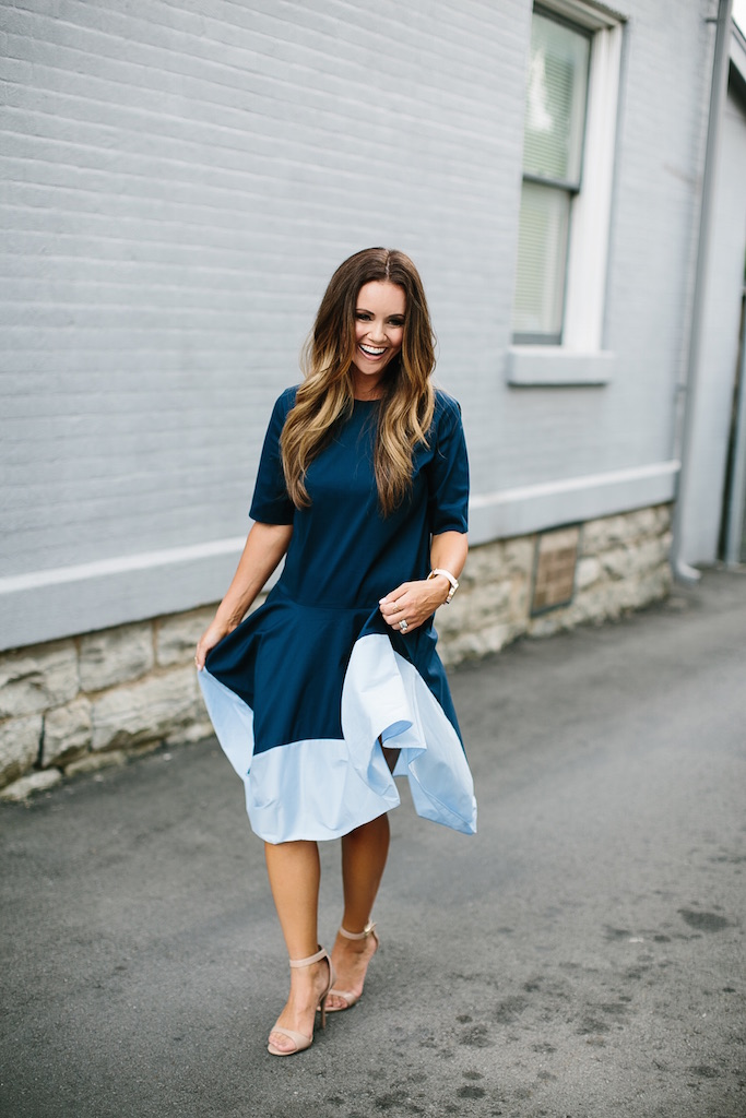 KBStyled: blue color block dress nude heels