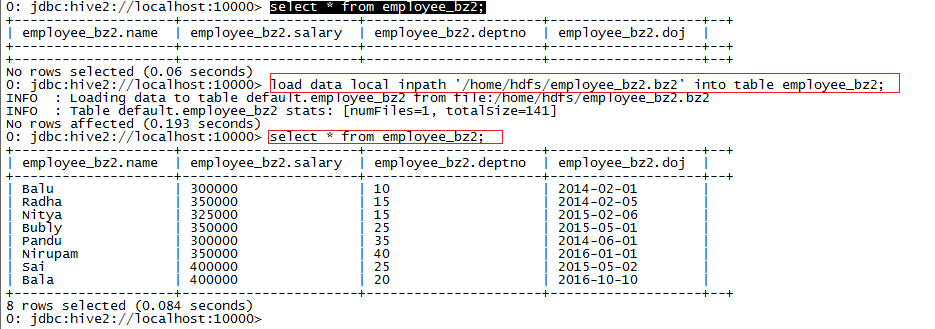 Hadoop Lessons: Loading compressed data into Hive table