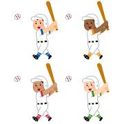 いろいろな野球選手のイラスト(女性)