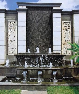 TUKANG TAMAN SURABAYA - water wall dan kolam koi