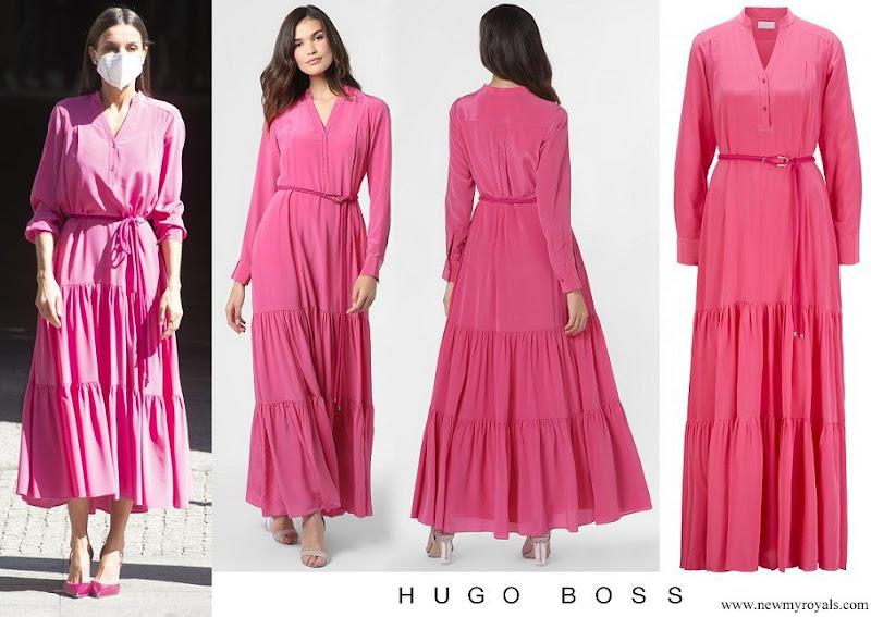 Queen Letizia wore Hugo Boss pink silk georgette  maxi dress