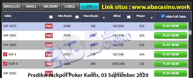 Prediksi bocoran jackpot pokerqq online di meja VIP hari ini Kamis, 3 September 2020